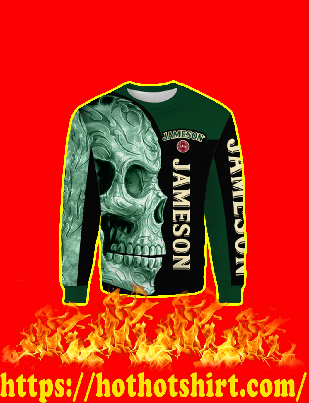 Jameson Irish Whiskey Skull Full Over Print 3d Sweatshirt