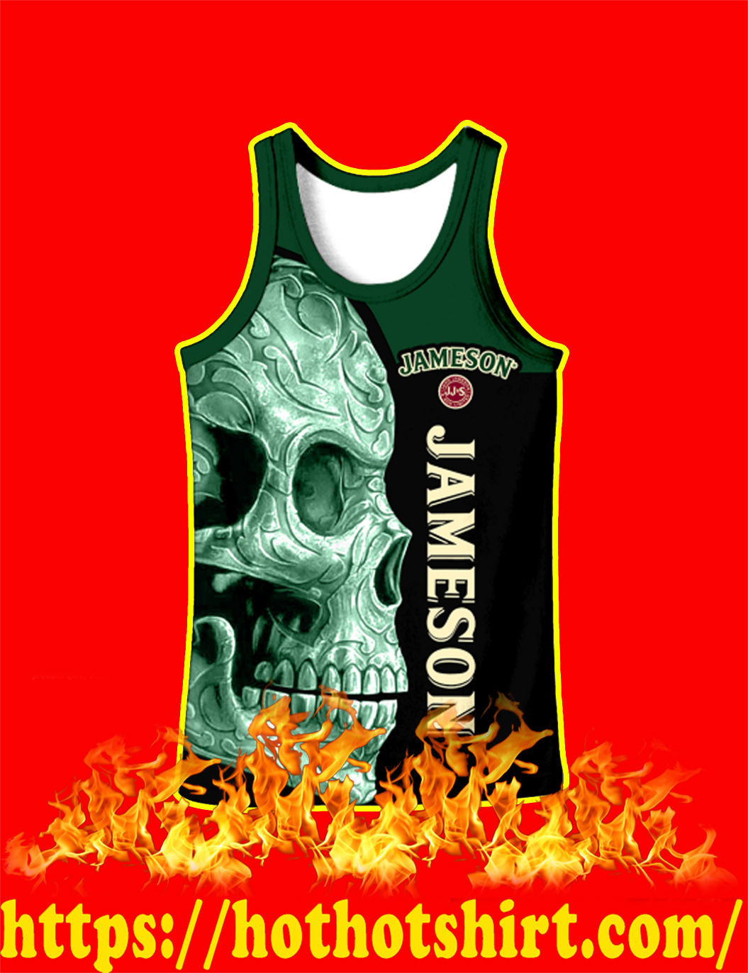 Jameson Irish Whiskey Skull Full Over Print 3d Tank top