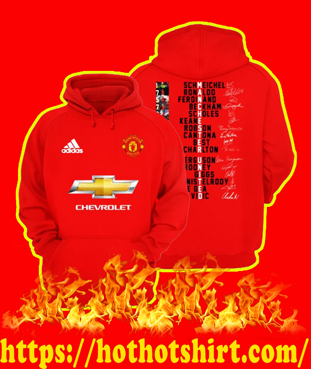 Manchester United Players Names Signature Print 2 Sides Hoodie