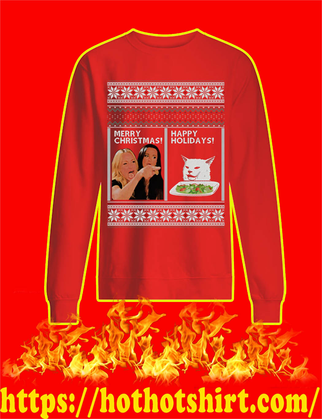 Merry Christmas Happy Holidays Meme Ugly Christmas Sweater- red