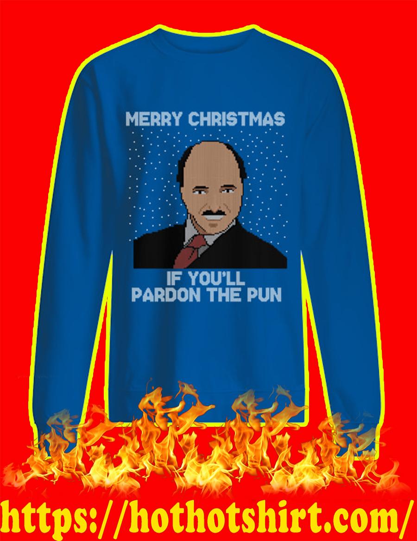 Merry Christmas If You'll Pardon The Pun Ugly Christmas Sweater-blue