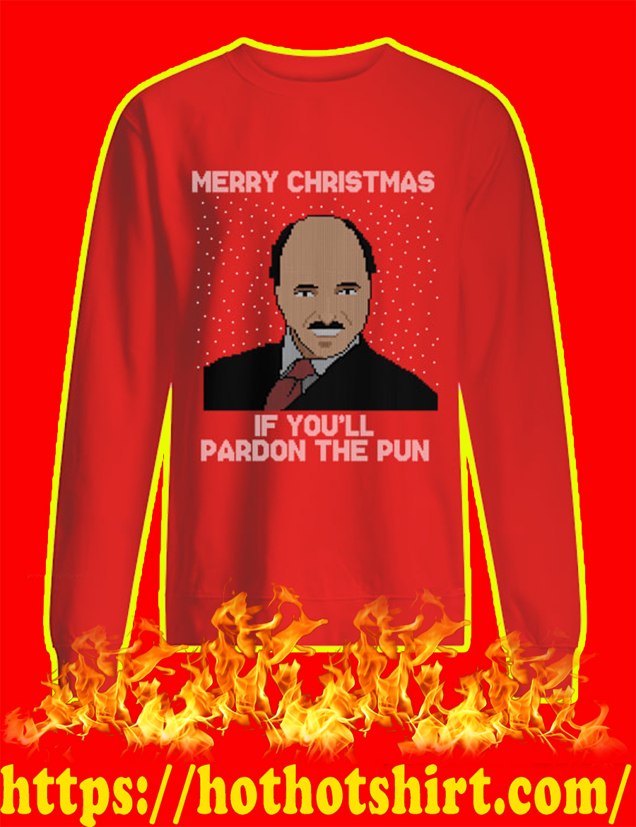 Merry Christmas If You'll Pardon The Pun Ugly Christmas Sweater-red