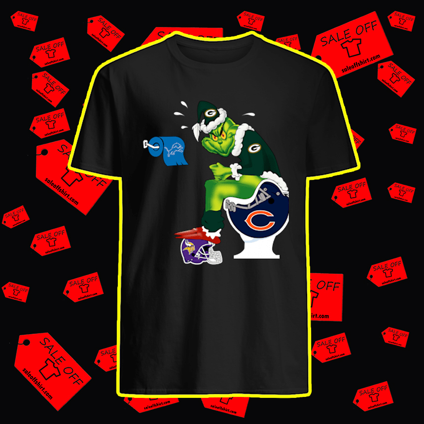 Packers Grinch Sitting on Bears Toilet Lions Paper Toilet Vikings shirt