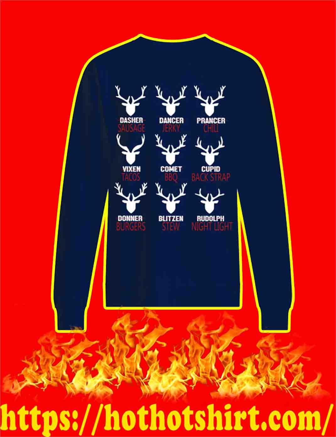 Reindeer Sausage Jerky Chili Tacos BBQ sweatshirt