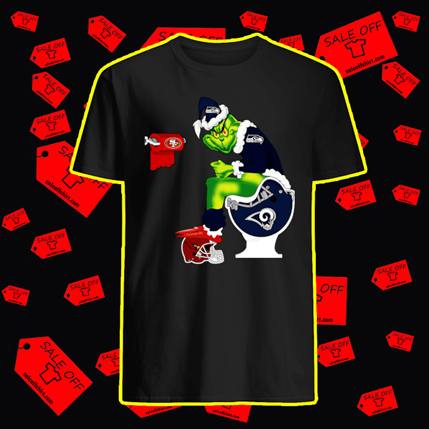 Seahawks Grinch Sitting on Rams Toilet Cardinals 49ers Toilet Paper shirt