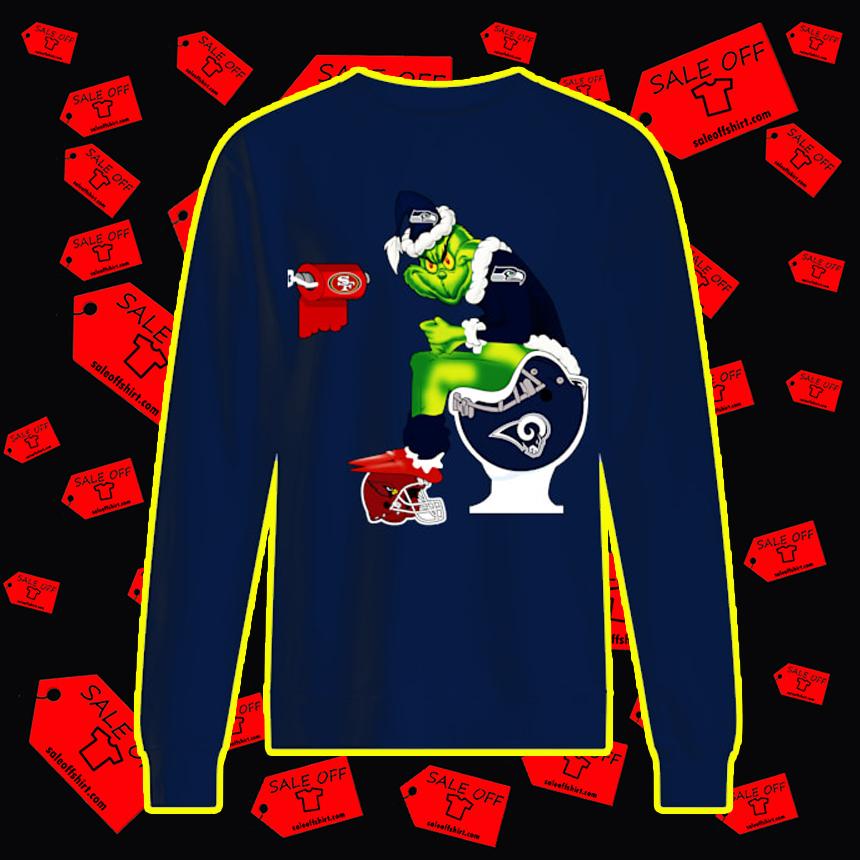 Seahawks Grinch Sitting on Rams Toilet Cardinals 49ers Toilet Paper sweatshirt
