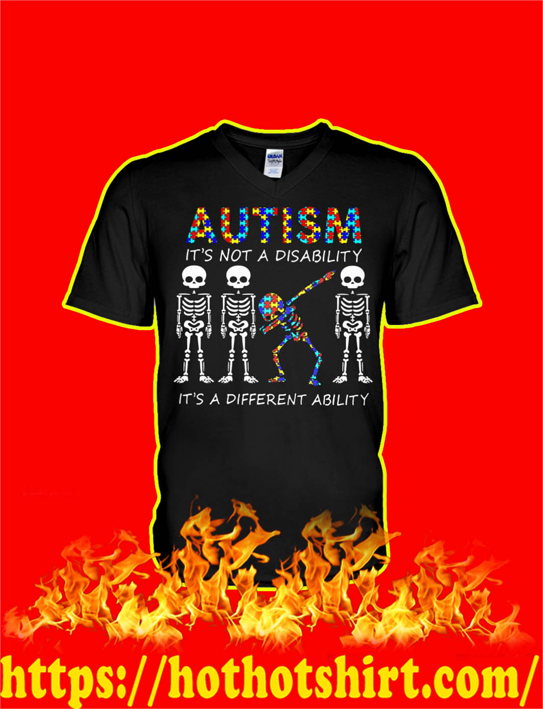 Skeleton Autism Is Not A Disability It's A Different Ability v-neck