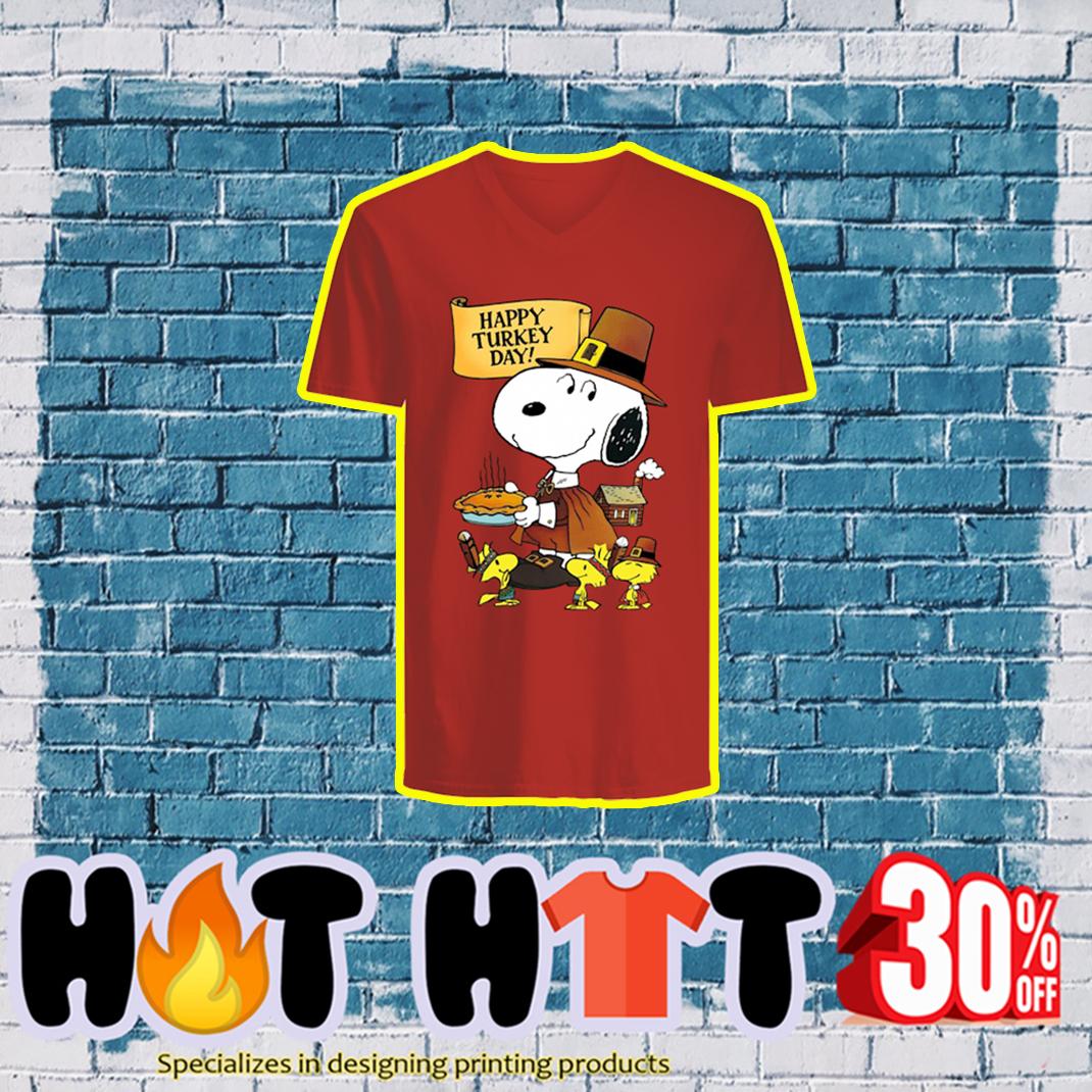 Snoopy and Woodstock Happy Turkey Day v-neck