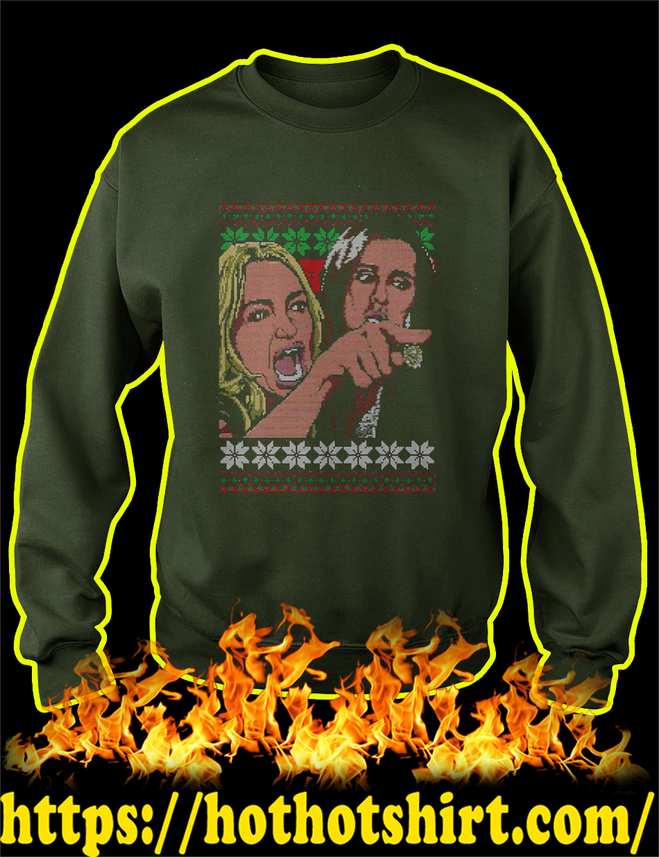 Taylor Armstrong Woman Yelling Meme Ugly Christmas Sweater-forest green