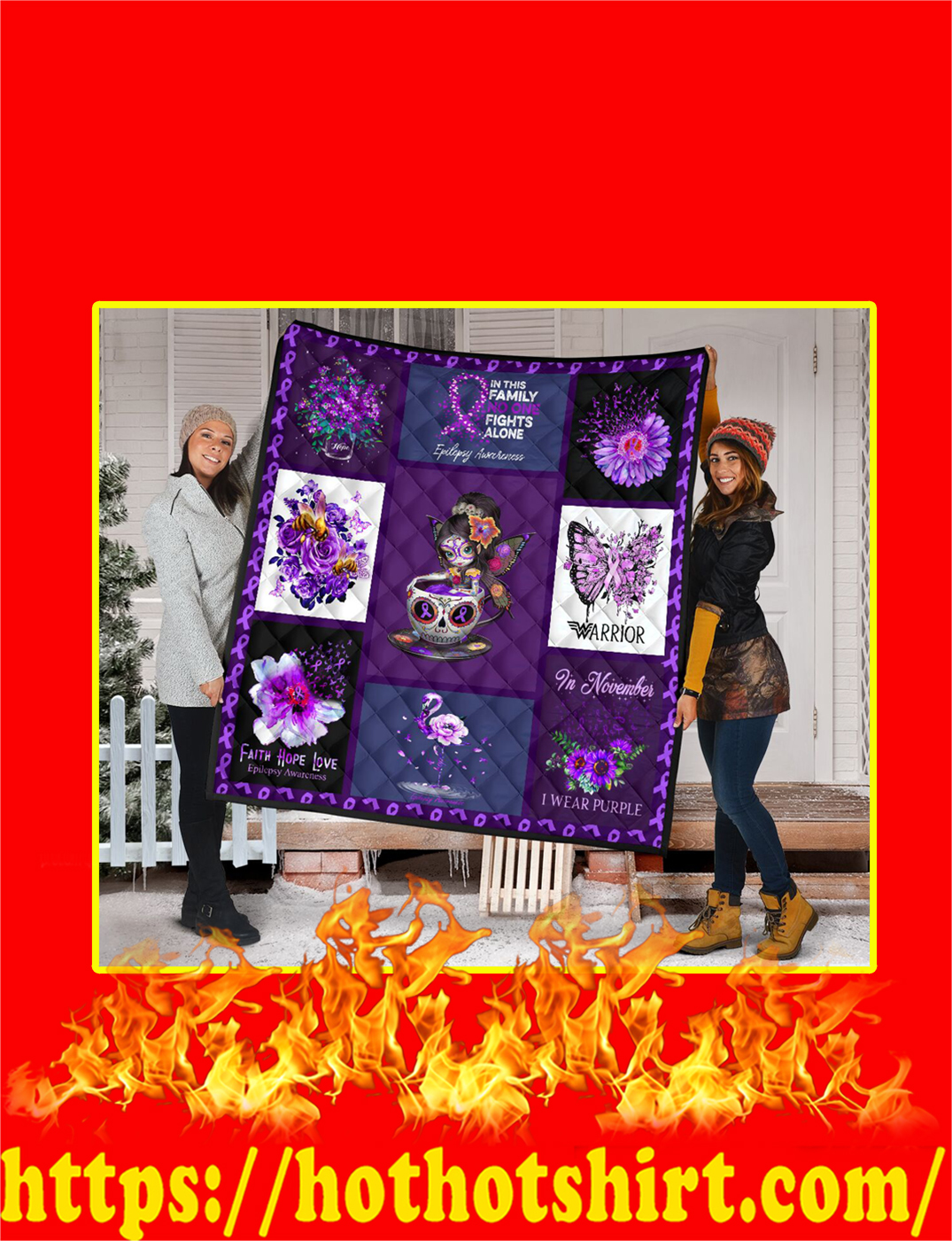 Teacup Girl In This Family No One Fights Alone Epilepsy Awareness Purple Quilt- queen