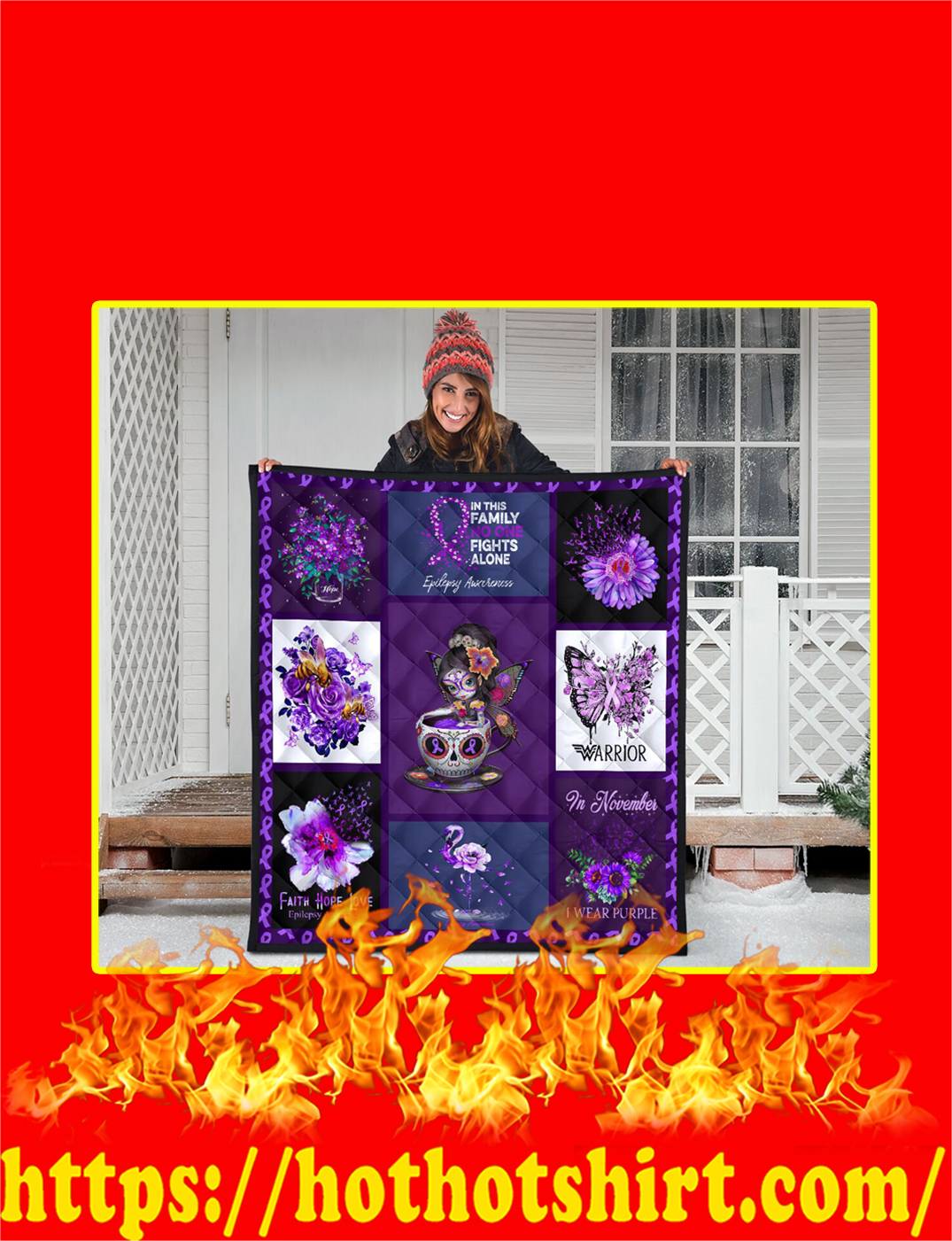 Teacup Girl In This Family No One Fights Alone Epilepsy Awareness Purple Quilt