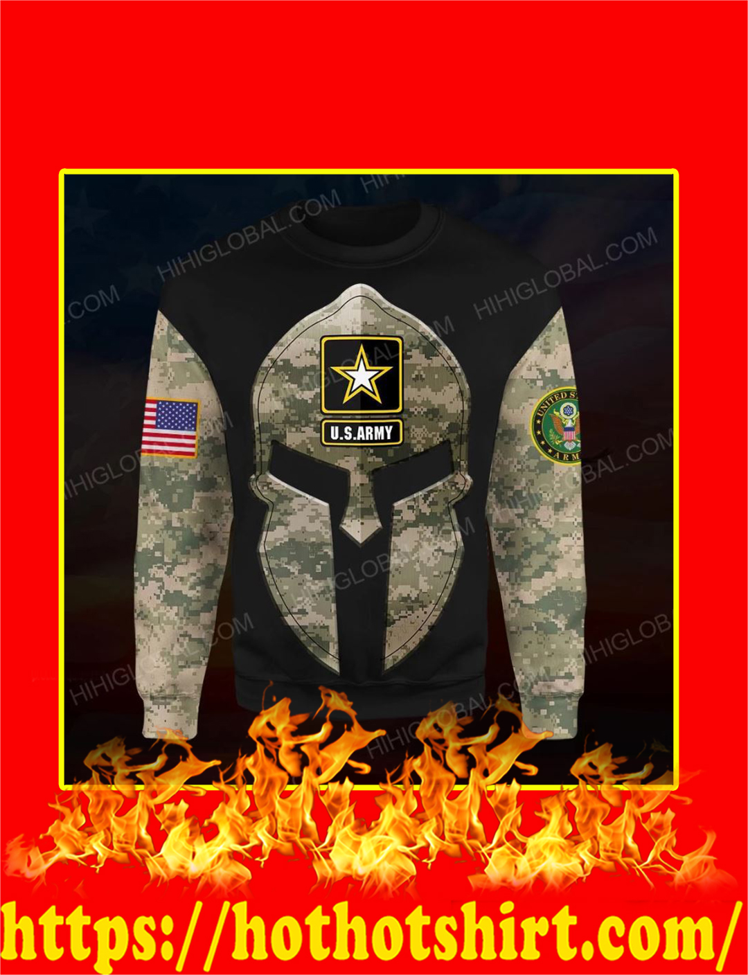 US Army Spartan All Over Printed 3d Sweatshirt