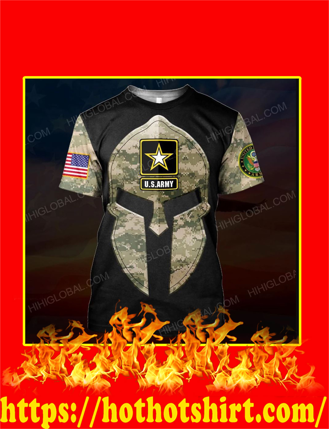 US Army Spartan All Over Printed 3d T-shirt