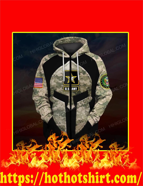US Army Spartan All Over Printed 3d Zip Hoodie