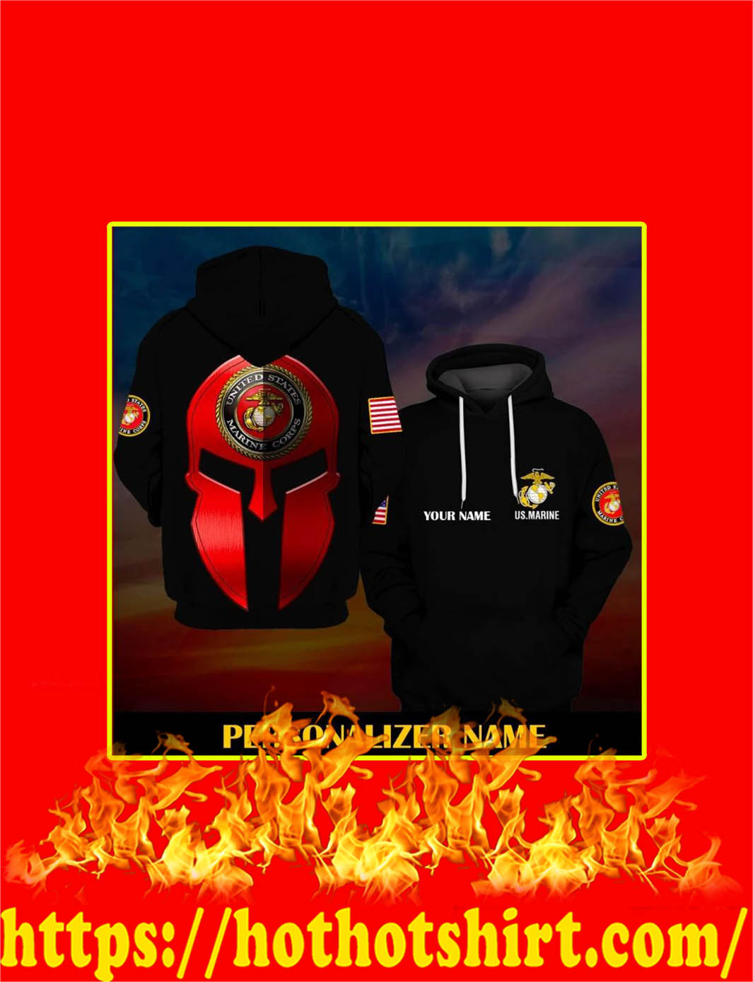 US Marine Corps Custom Personalized Name All Over Printed 3D Hoodie