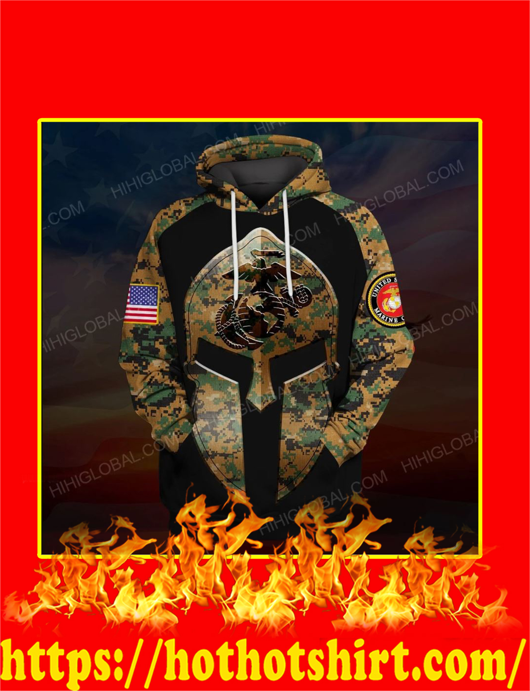 US Marine Corps Spartan All Over Printed 3d Hoodie
