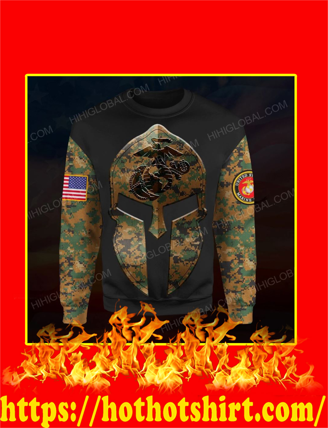 US Marine Corps Spartan All Over Printed 3d Longsleeve tee