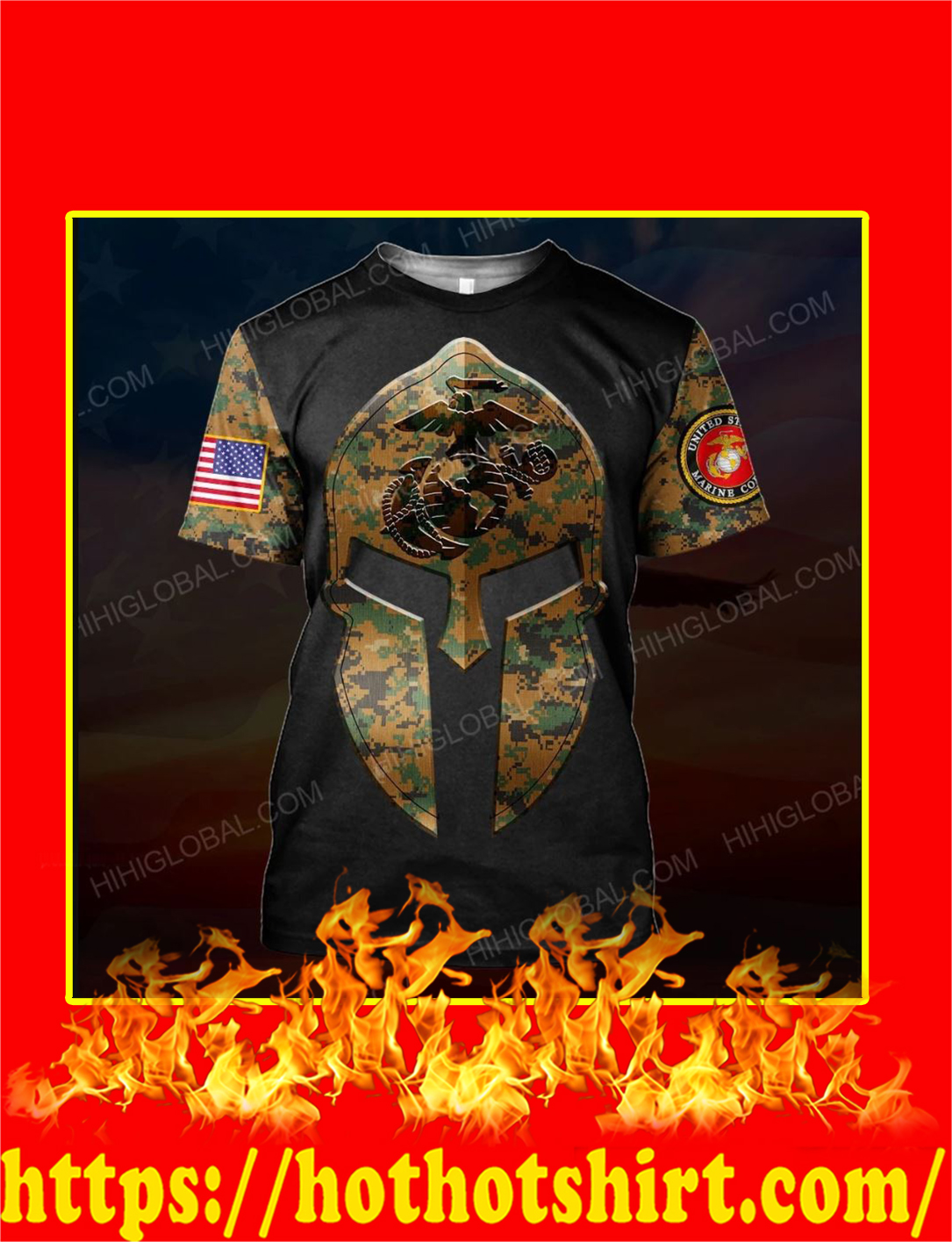 US Marine Corps Spartan All Over Printed 3d T-shirt