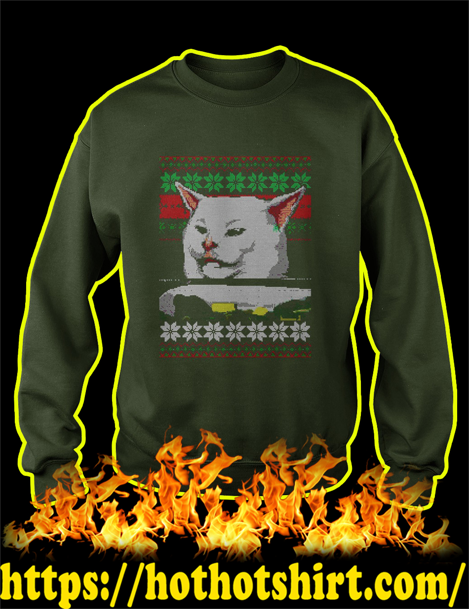Woman Yelling At Cat Meme Ugly Christmas Sweater-forest green