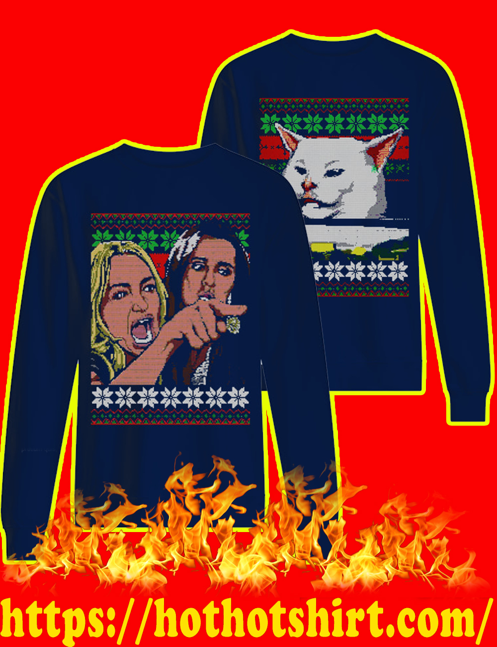 Woman yelling at a cat meme christmas sweater-navy