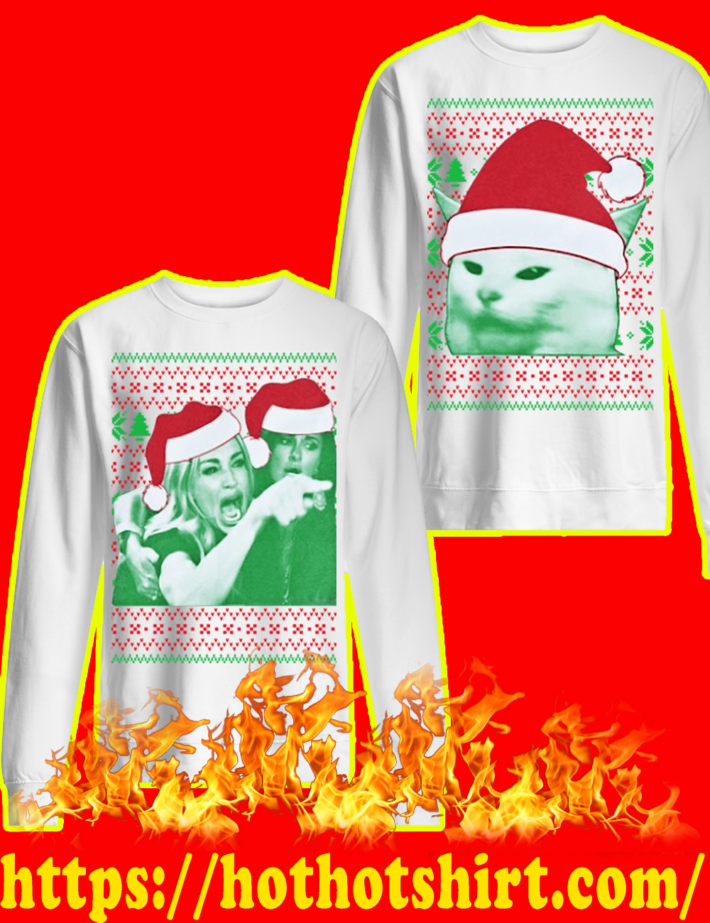 Woman yelling at a cat meme christmas sweater-style 3