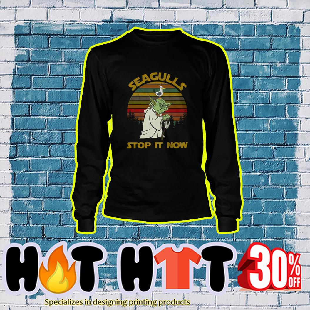 Yoda Seagulls Stop It Now Vintage Retro longsleeve tee