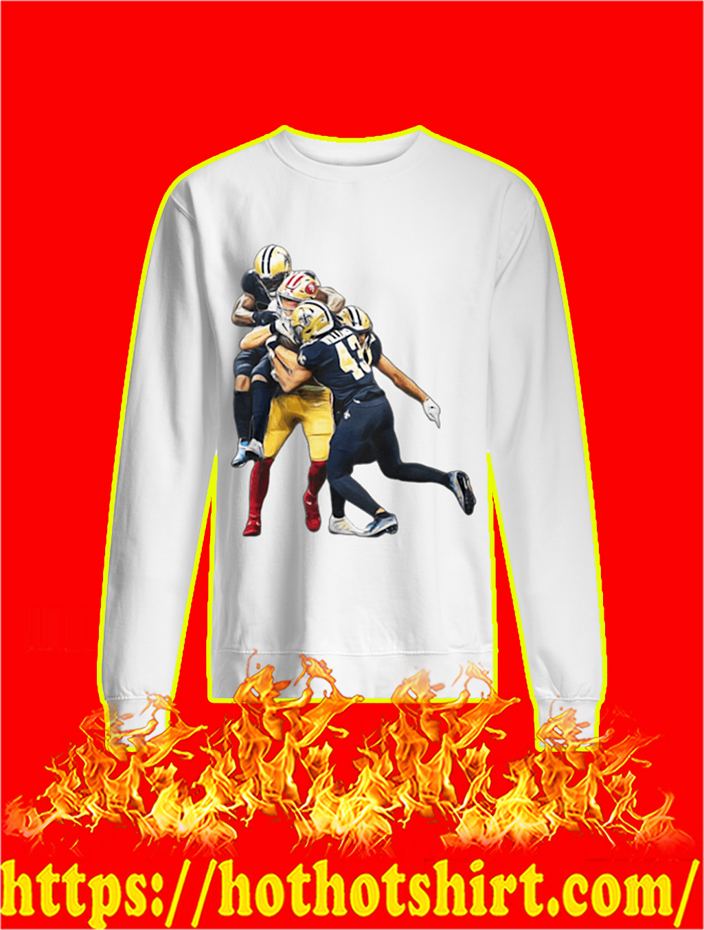 49ers' George Kittle on the catch Saints sweatshirt