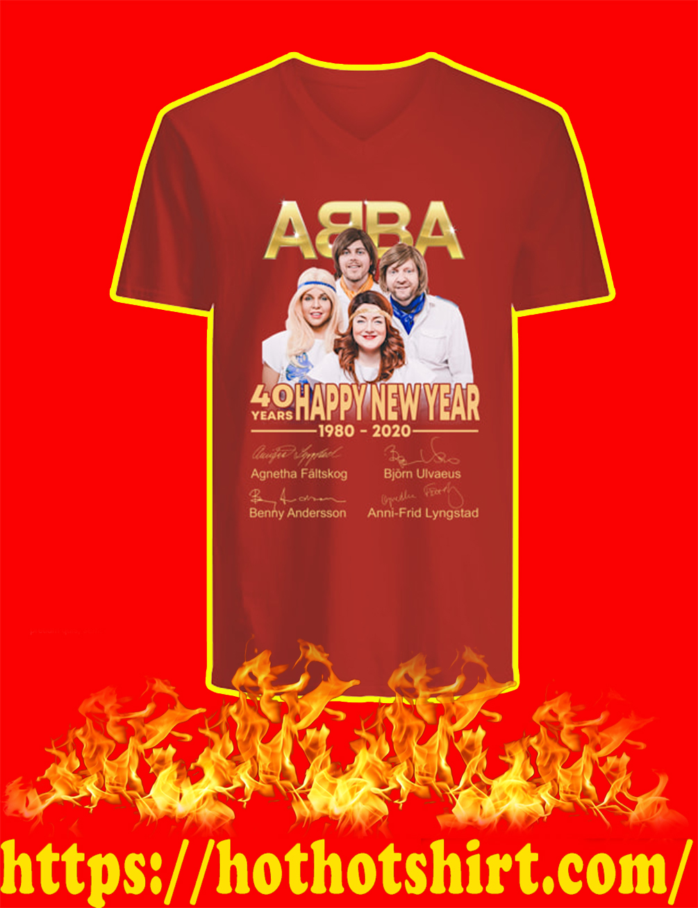 ABBA 40 Years Happy New Year 1980 2020 v-neck