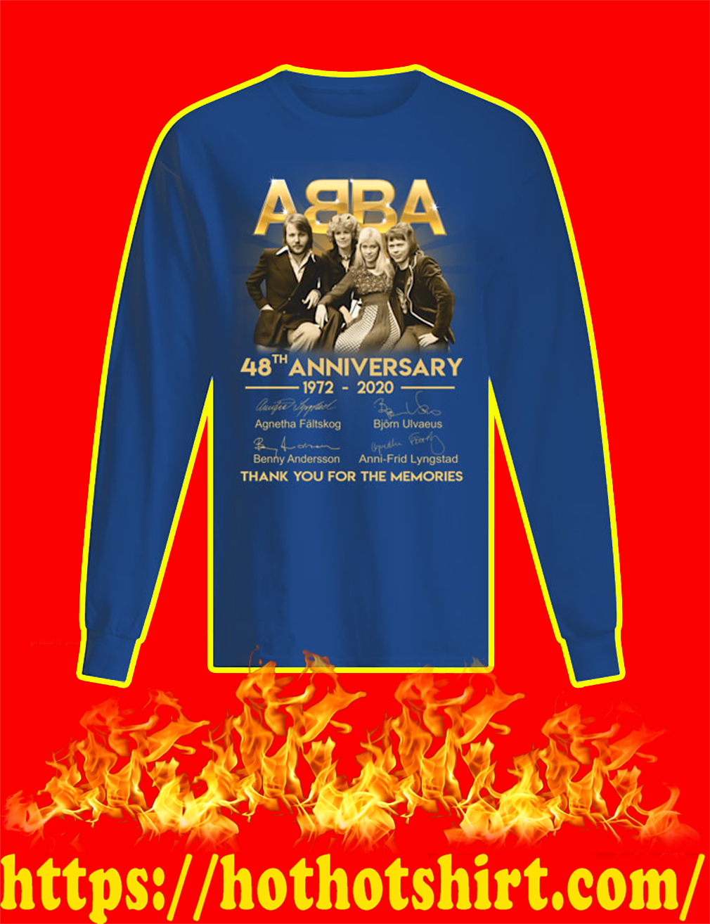 ABBA 48th Anniversary 1972 2020 Thank You For The Memories longsleeve tee
