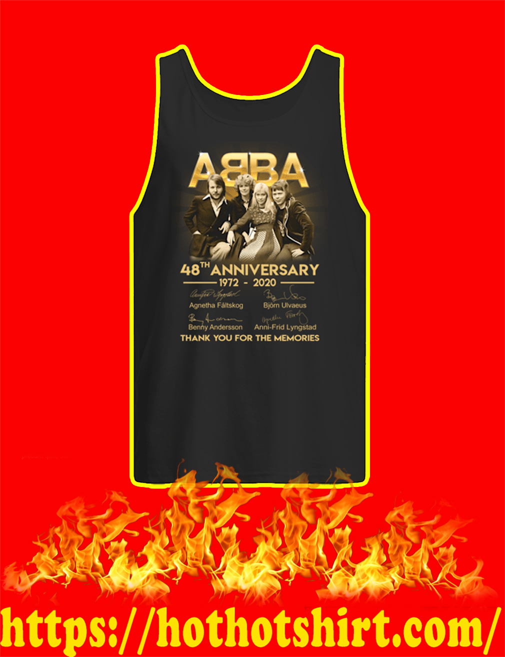 ABBA 48th Anniversary 1972 2020 Thank You For The Memories tank top