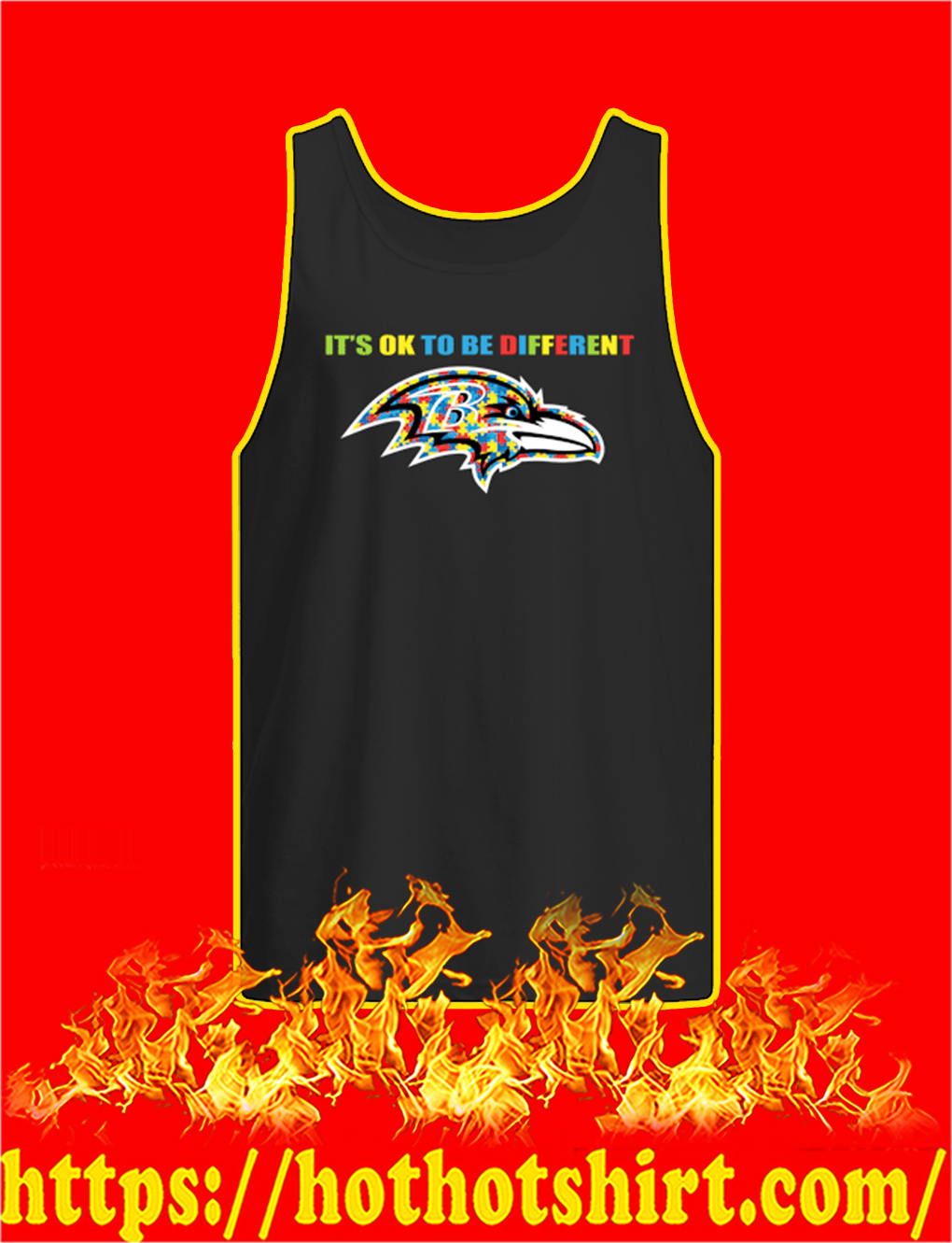 Autism It's Ok To Be Different Baltimore Ravens tank top