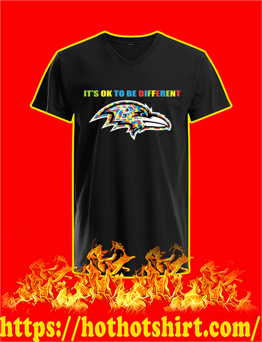Autism It's Ok To Be Different Baltimore Ravens v-neck
