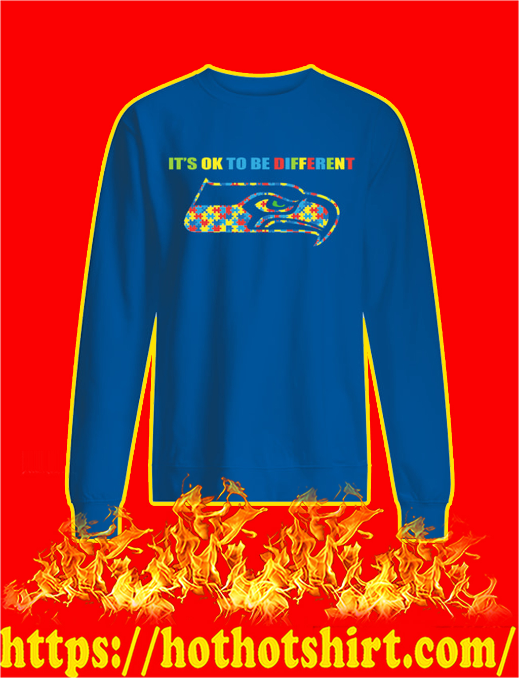 Autism It's Ok To Be Different Seattle Seahawks sweatshirt
