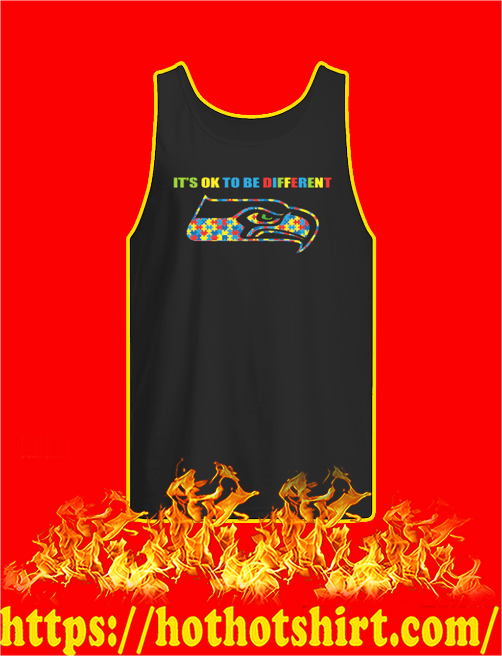 Autism It's Ok To Be Different Seattle Seahawks tank top