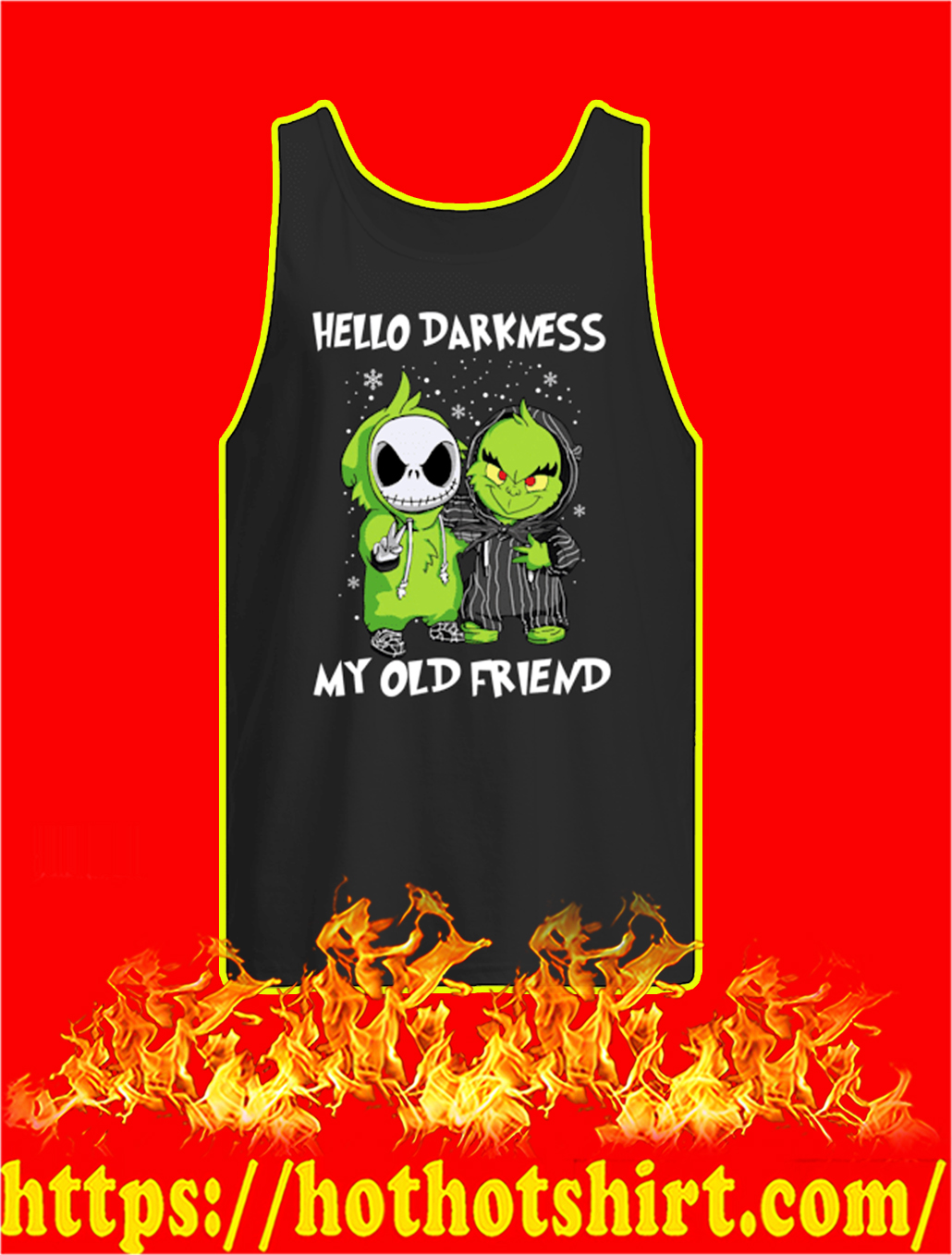 Baby Jack and Grinch Hello Darkness My Old Friend Christmas tank top