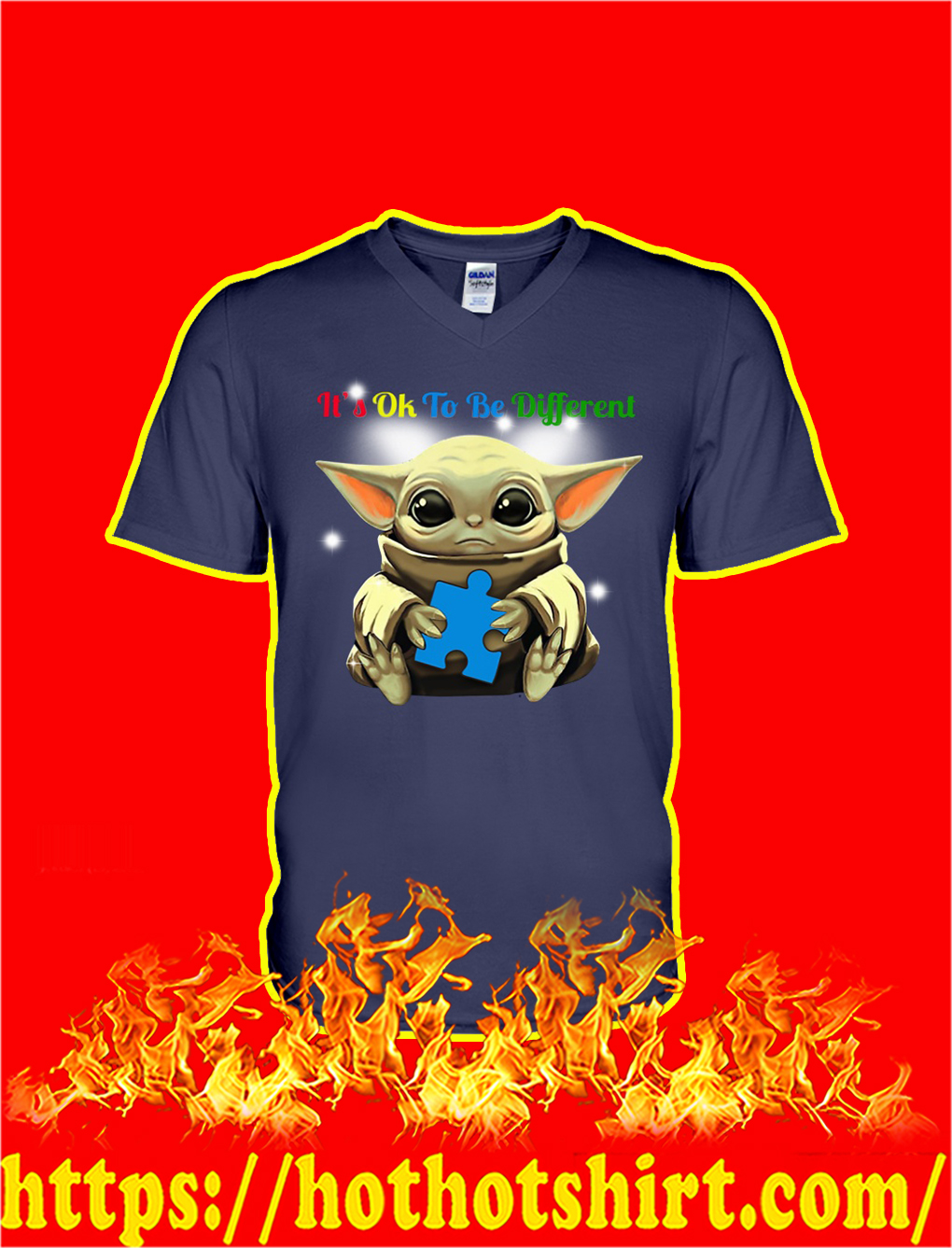 Baby Yoda Autism It's Ok To Be Different v-neck