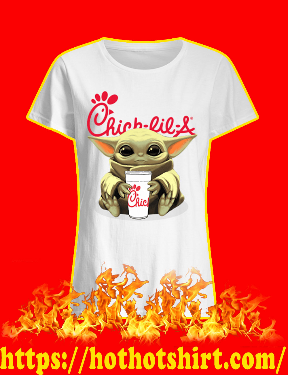 Baby Yoda Chick-fil-A lady shirt