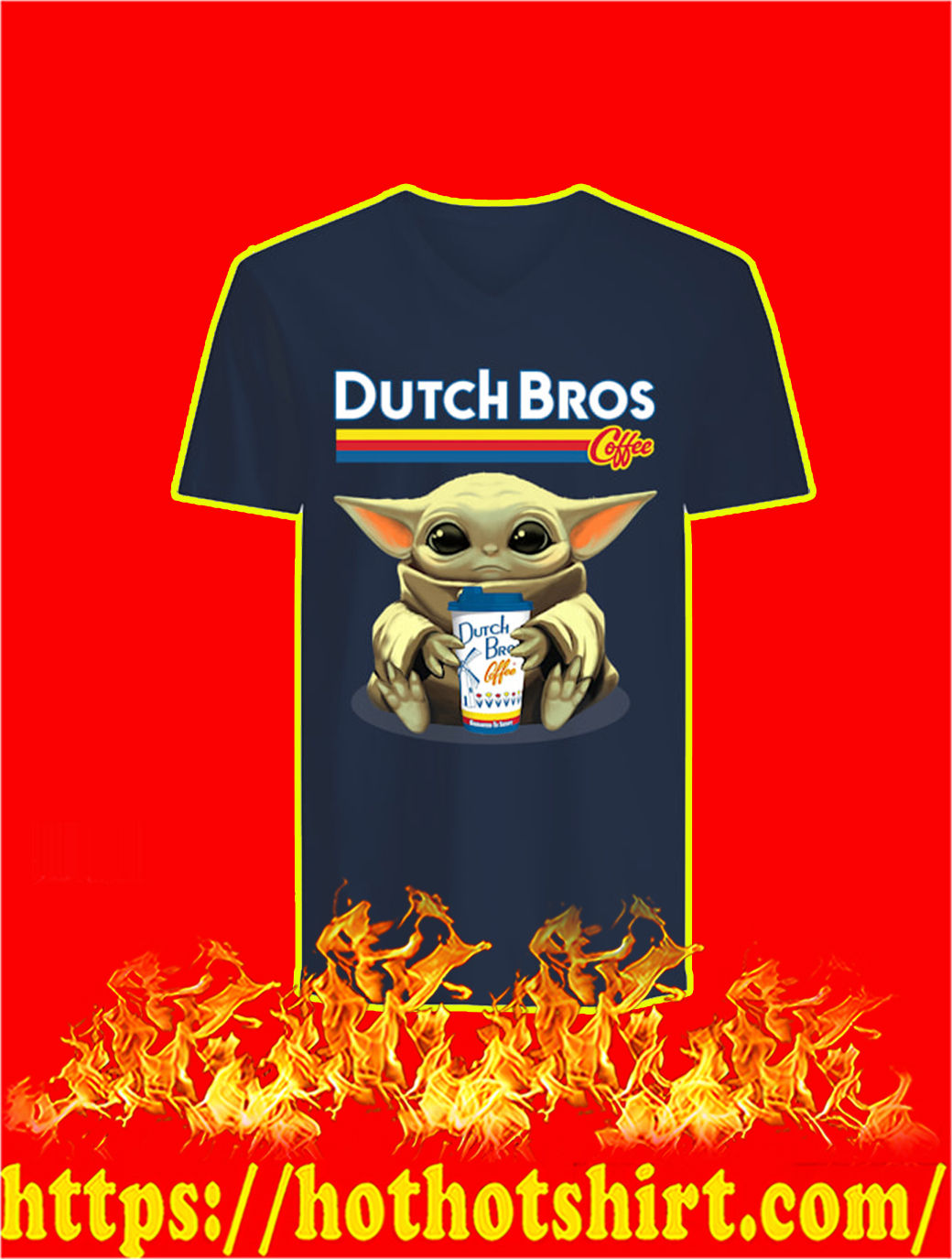 Baby Yoda Dutch Bros Coffee v-neck