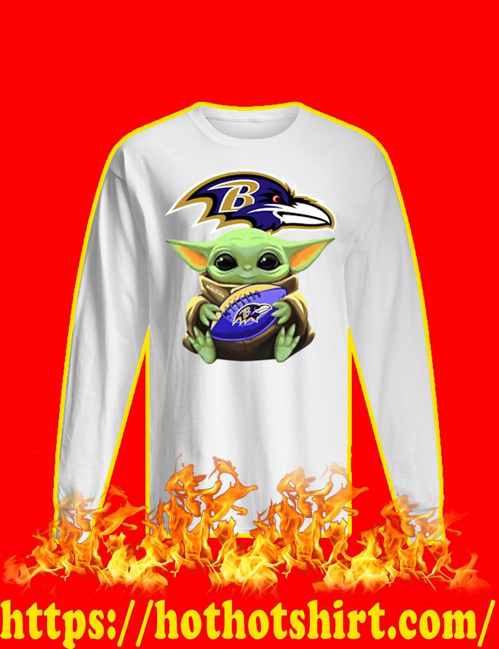 Baby Yoda Hug Baltimore Ravens long sleeved T-shirt