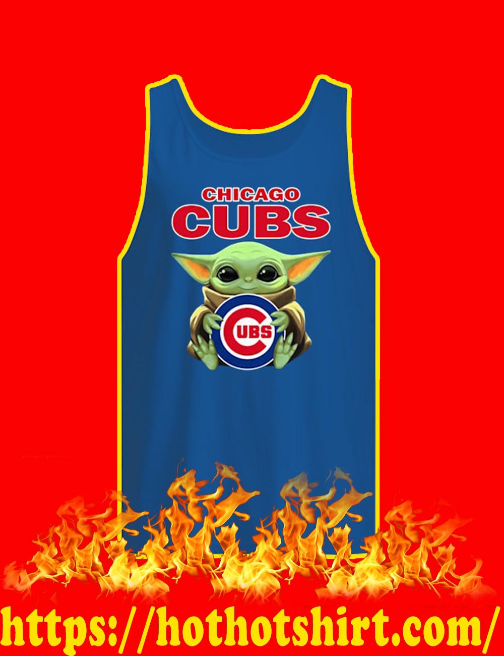 Baby Yoda Hug Chicago Cubs Tank top