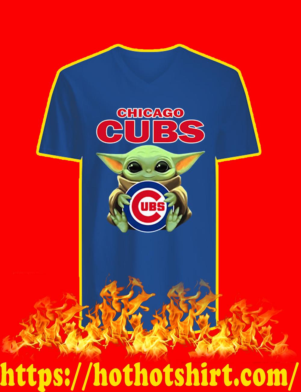 Baby Yoda Hug Chicago Cubs v-neck
