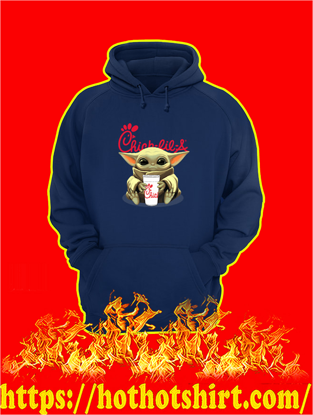 Baby Yoda Hug Chick-fil-A hoodie