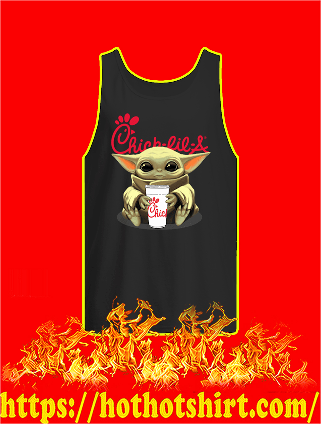 Baby Yoda Hug Chick-fil-A tank top