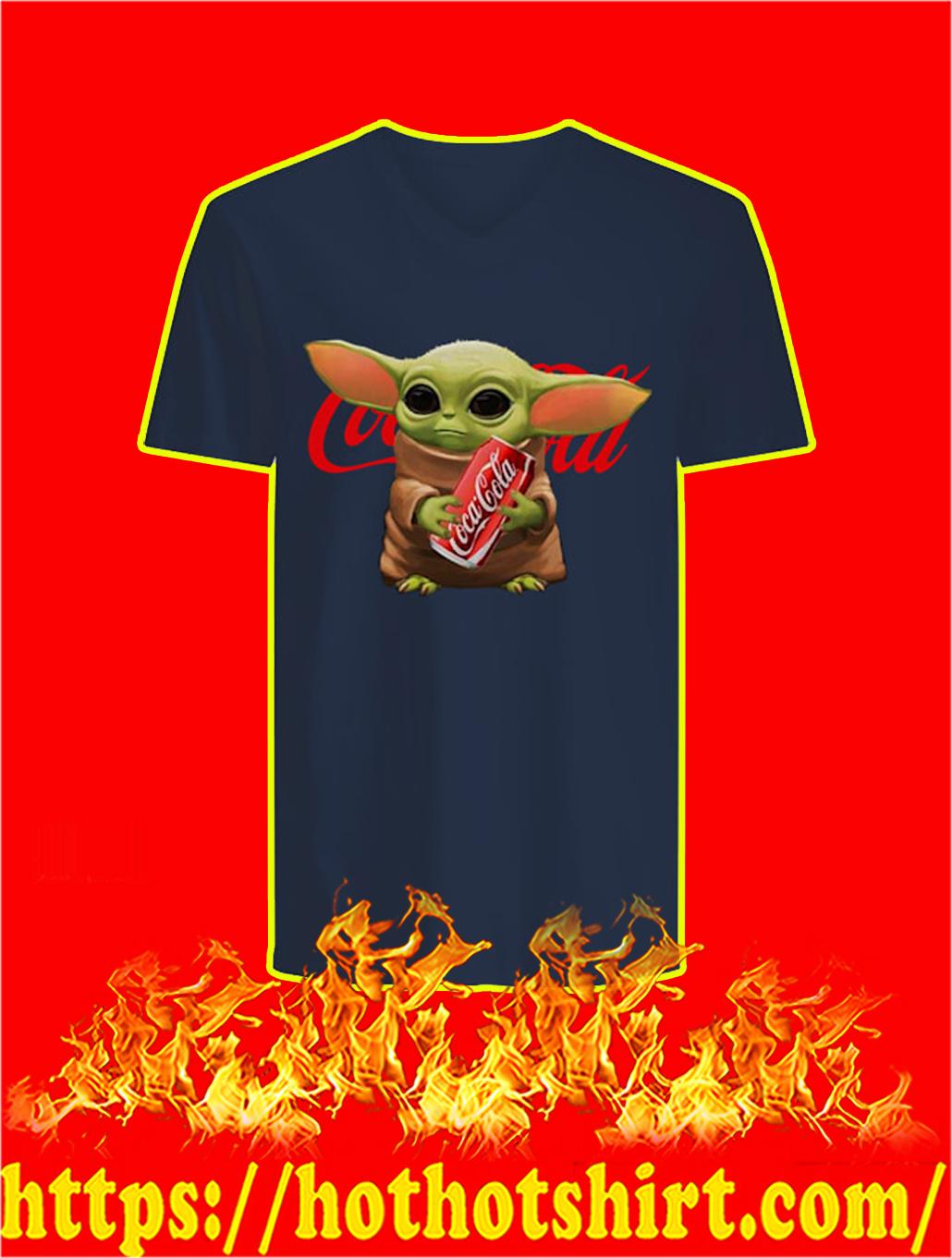 Baby Yoda Hug Coca Cola v-neck
