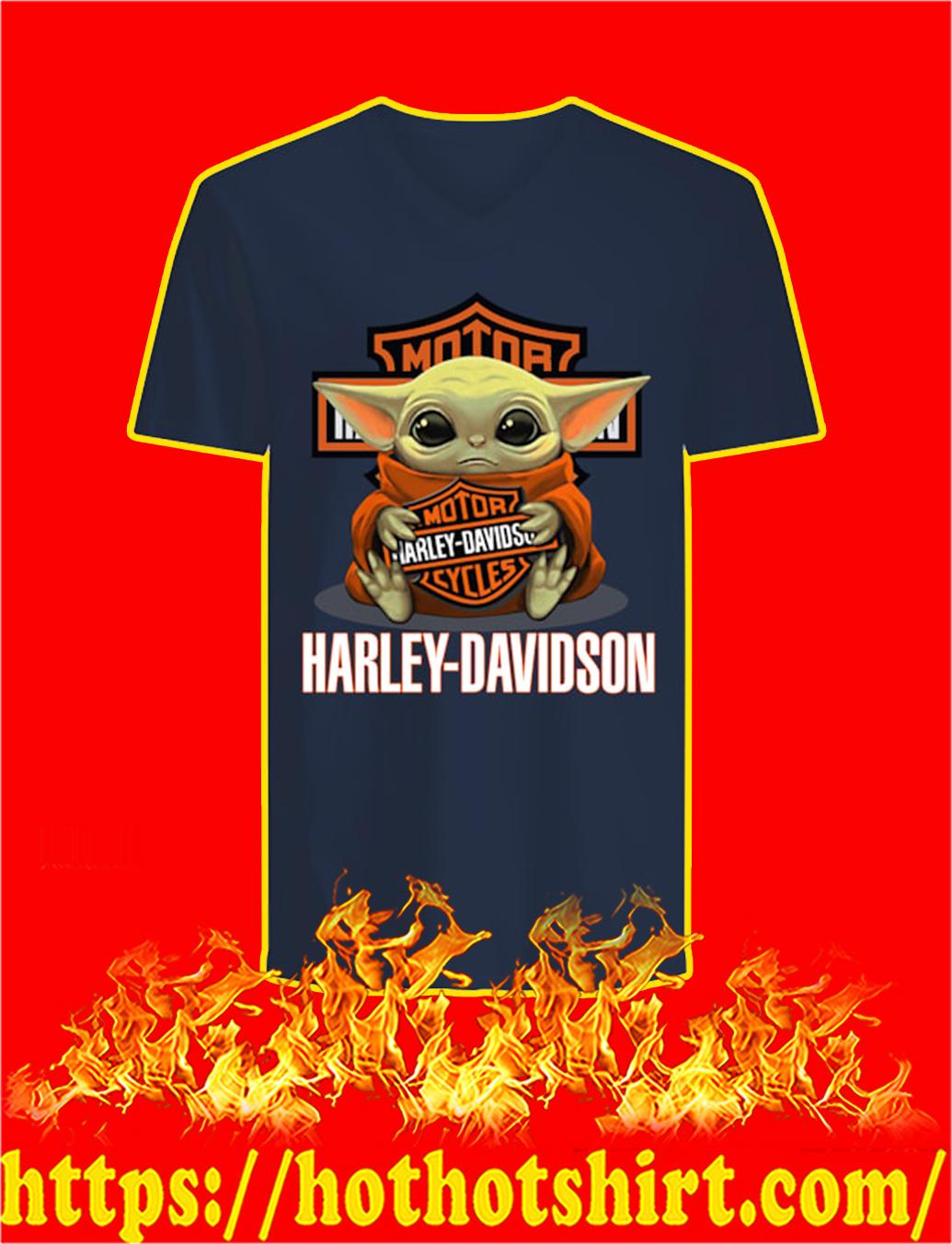 Baby Yoda Hug Harley-Davidson v-neck