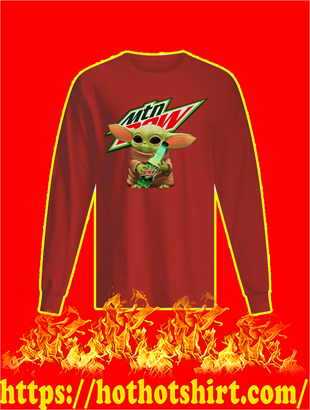 Baby Yoda Hug Mountain Dew sweatshirt