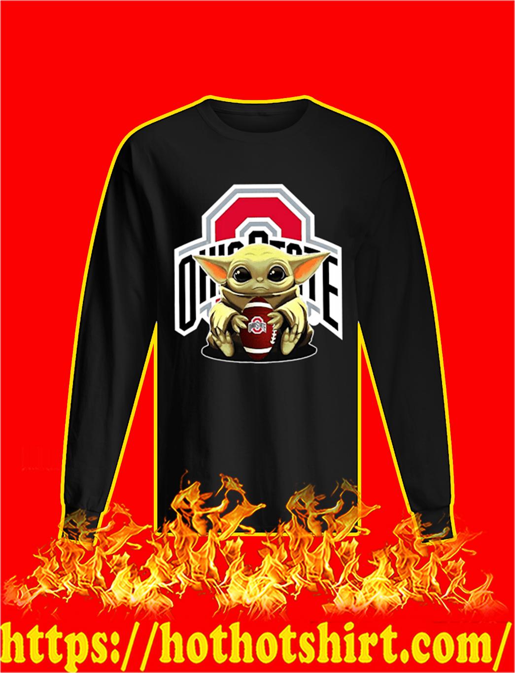 Baby Yoda Hug Ohio State Buckeyes longsleeve tee