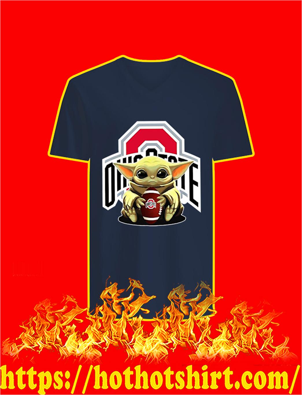 Baby Yoda Hug Ohio State Buckeyes v-neck