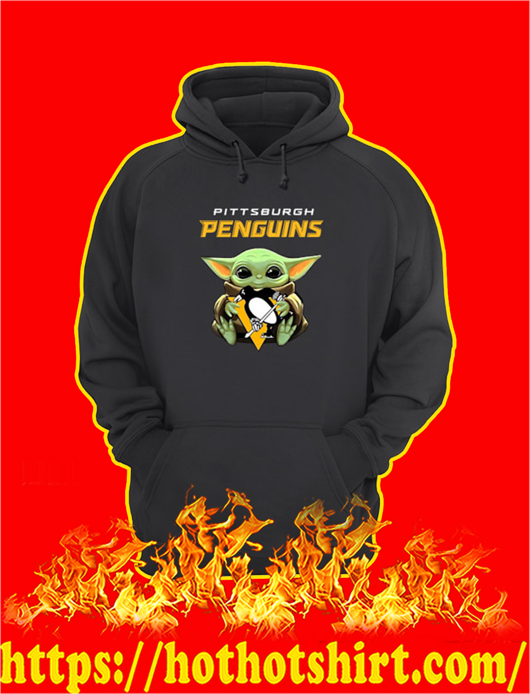 Baby Yoda Hug Pittsburgh Penguins hoodie