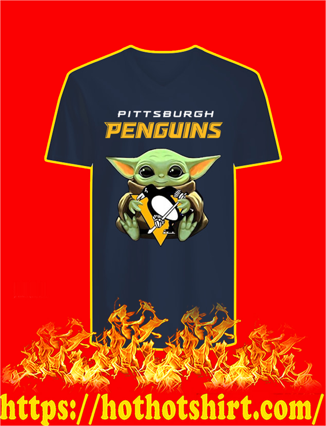 Baby Yoda Hug Pittsburgh Penguins v-neck